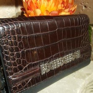 Brighton Croc Leather Tri-Fold Clutch Wallet